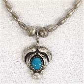 Navajo Sterling Bisbee Turquoise Pendant Necklace