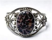 Sterling Silver  Leopard Skin Jasper Bracelet