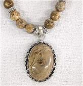 Antiqued Silver Picture Jasper Beaded Necklace