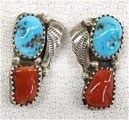 Navajo Sterling Turquoise Earrings by K. Francisco