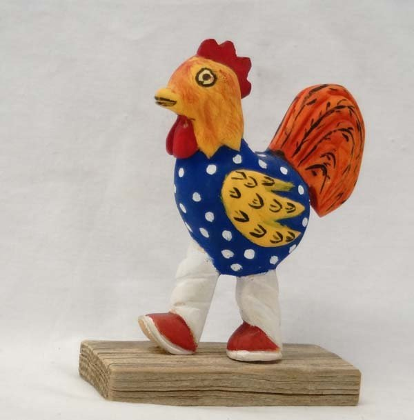 Navajo Carved Wood Rooster Folk Art by H. Benally
