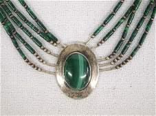 Navajo Sterling Silver Malachite Pendant Necklace