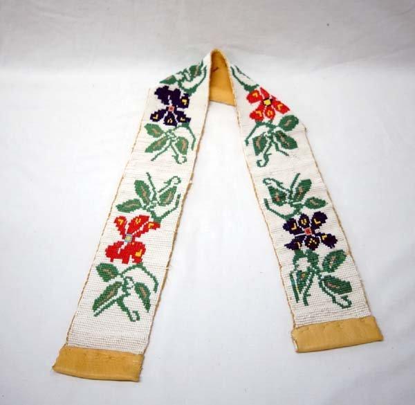 Native American Chippewa Beaded Doeskin Belt