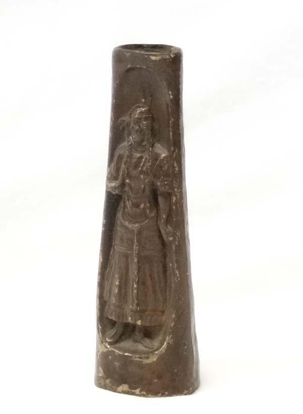 Bronzed Brass Native American Maiden Vase