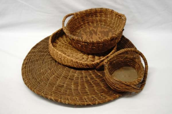 4 Antique Pine Needle Baskets