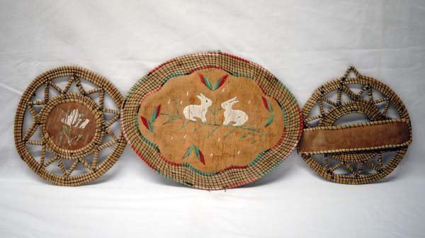 3 Antique Iroquois Porcupine Quill Basketry Trays