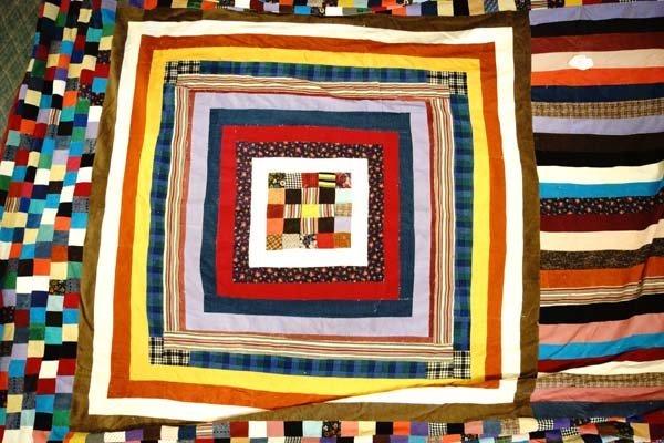Estate Antique King Size Corduroy Patchwork Quilt