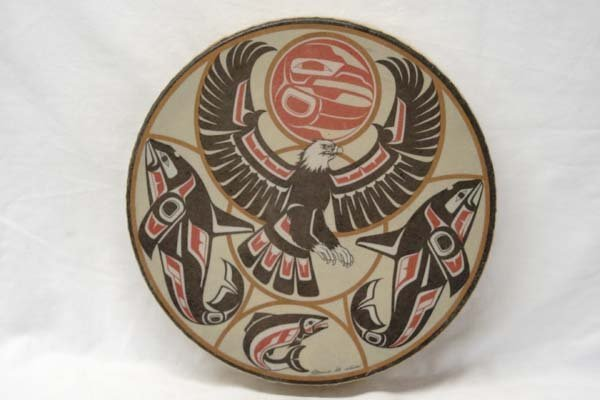 Northwest Coast Indian Drum by Clarence A. Wells
