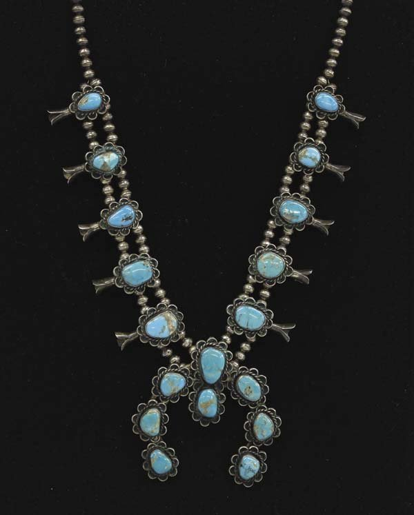 1950 Navajo Silver Turquoise Squash Necklace, 234g