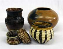 Collection of Navajo Pottery and Tribal Baskets