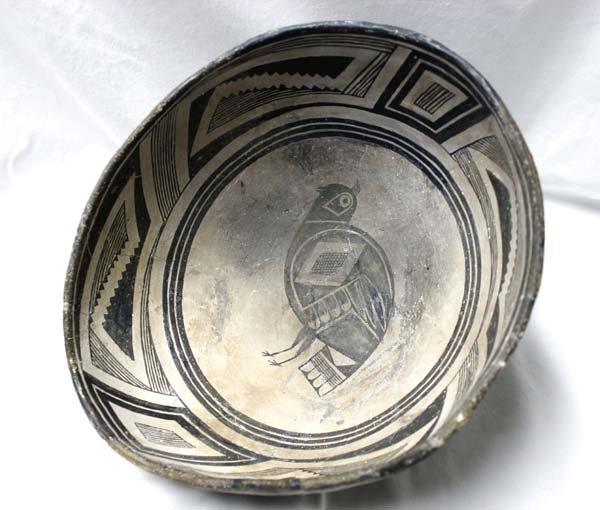 Large Prehistoric Classic Mimbres Quail Pictoral Bowl
