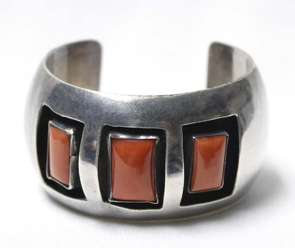 Navajo Sterling Coral Shadowbox Bracelet by Romero