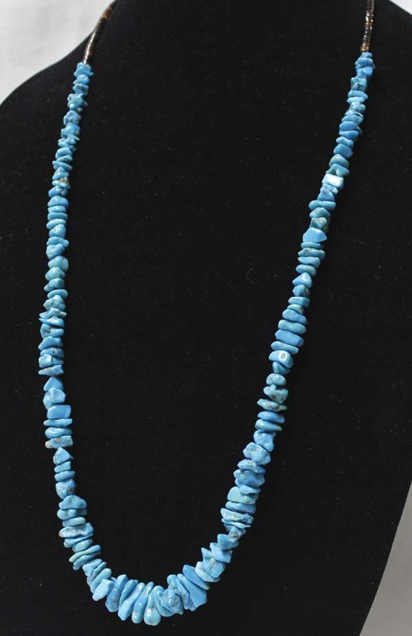 Navajo Turquoise Stacked Nugget Heishi Necklace