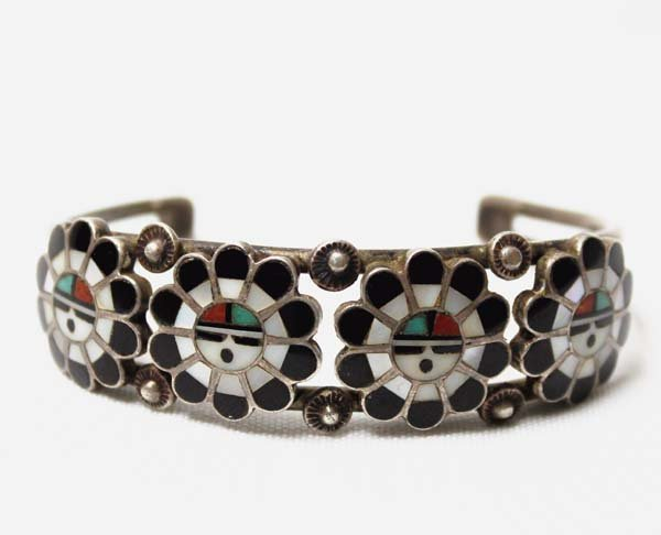 1950 Zuni Traditional Sun God Inlay Bracelet