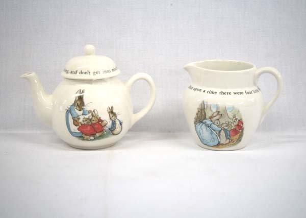 English Wedgwood Beatrix Potter Teapot & Pitcher