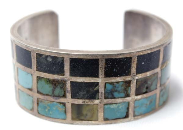 Rare Antique Navajo Sterling Channel Inlay Bracelet