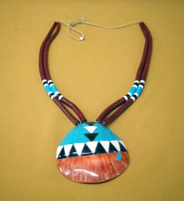 Santo Domingo Inlay Shell Pendant Necklace