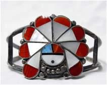 Vintage Zuni Sterling Silver Inlay Bracelet