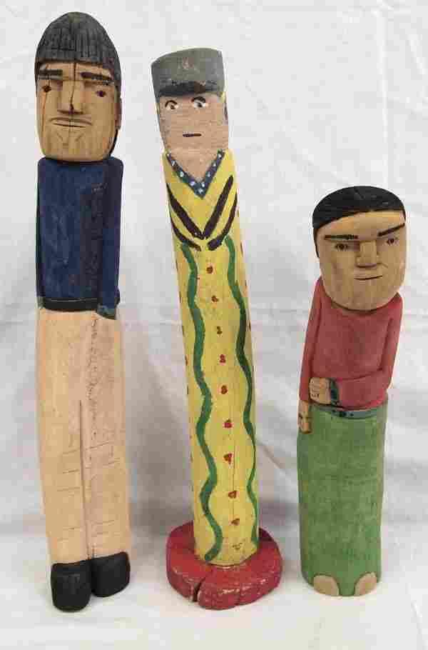 3 Navajo Carved Wood Folk Art Doll