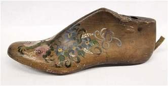 Antique Hand Painted Wooden Shoe Last