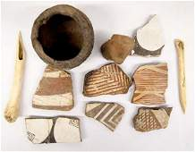 Prehistoric Mimbres Pottery, Sherds, Stone Carving