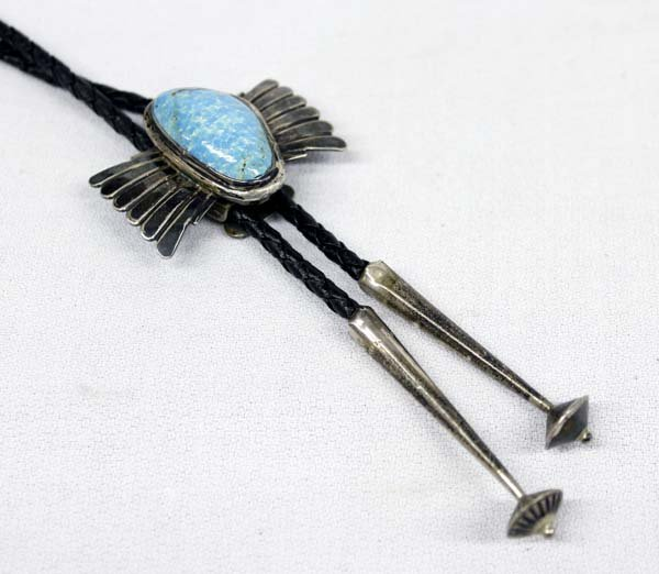 Navajo Old Pawn Sterling Turquoise Bolo Tie