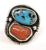 Navajo Sterling Silver Turquoise Coral Ring, Sz 8