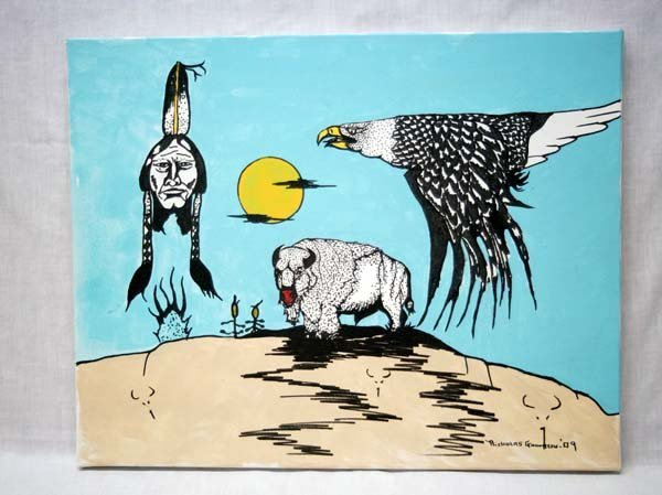 Original Sioux Hidatsa Painting by N. Goodreau