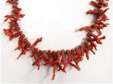 Navajo Turquoise Heishi and Coral Bead Necklace