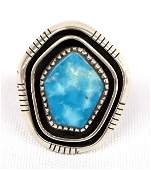 Navajo Sterling Silver Turquoise Ring by Ray King