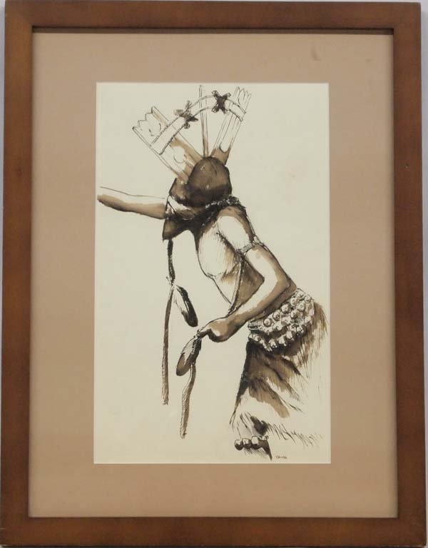 Hopi Original Watercolor Painting by Ed Yava