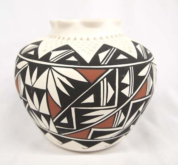Acoma Polychrome Geometric Pottery Jar by Concho