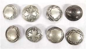 Antique Native American Navajo Coin Silver Buttons