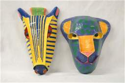 Pair of Paper Mache Animal Masks by Gwa Twax