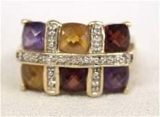 14K Gold Citrine Garnet Amethyst Ring size 825