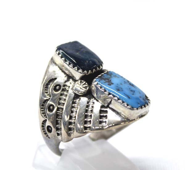 Navajo Sterling Silver Turquoise Ring, Size 10