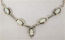 Navajo Sterling Silver Opal Necklace Running Bear