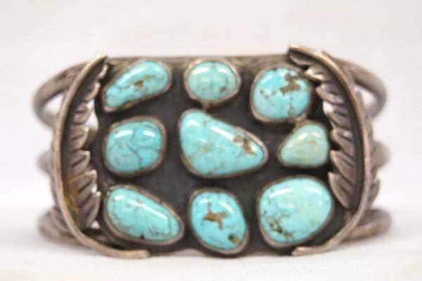 Native American Navajo Silver Turquoise Bracelet