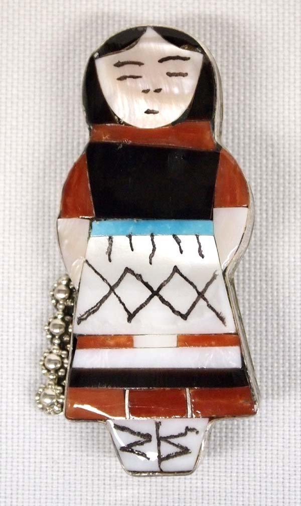 Zuni Sterling Silver Maiden Pin Pendant by Waseta