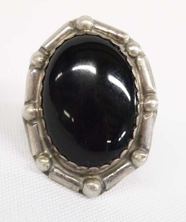 Navajo Sterling Silver Onyx Ring, Size 7.75