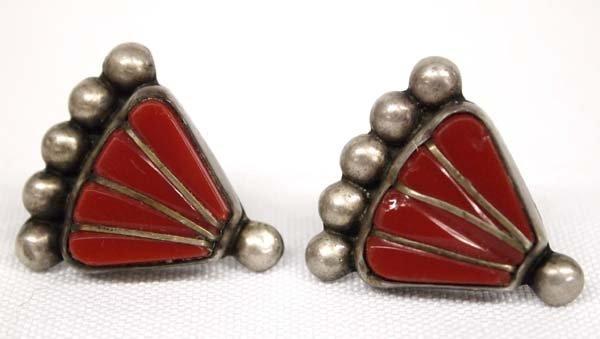 Vintage Mexican Sterling Coral Screwback Earrings