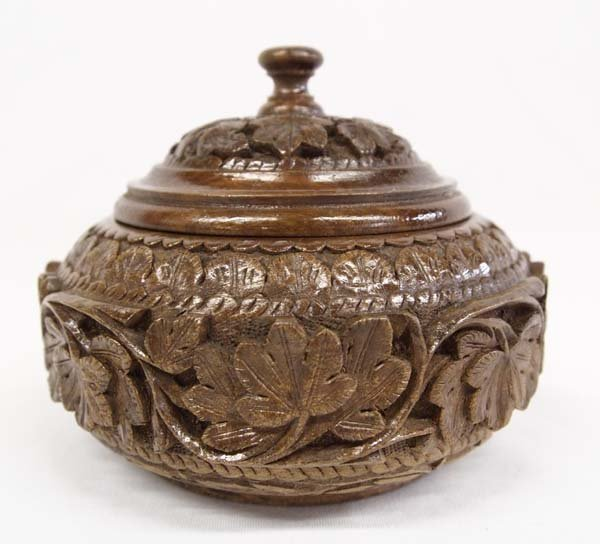 Chinese Carved Wood Lidded Bowl