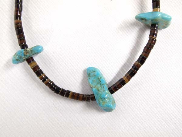 1950 Navajo Turquoise Nugget Heishi Necklace