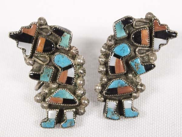 Antique Zuni Screwback Silver Rainbow Man Earrings