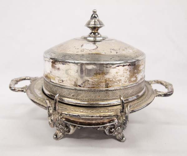Antique Silverplate Covered Butter Dish