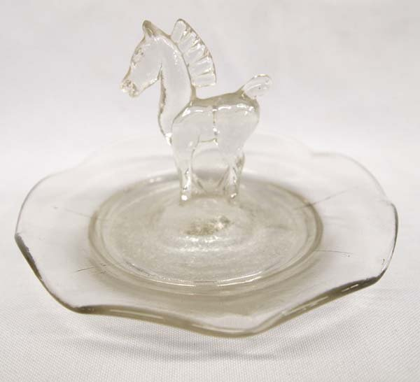 Antique Art Deco Molded Glass Horse Ring Dish
