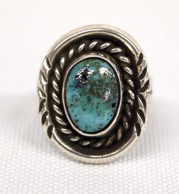 Navajo Sterling Silver Turquoise Ring, Size 5.5
