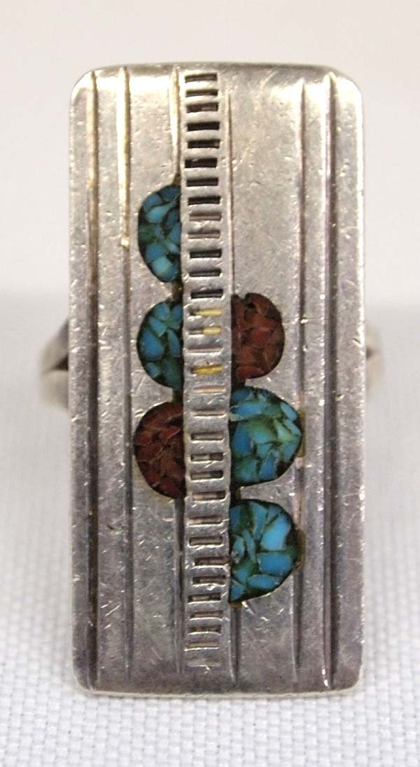 Navajo Old Pawn Sterling Inlay Ring, Size 7.5