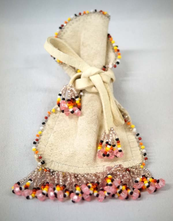 Navajo Beaded Leather Corn Pollen Bag by S. Leyba