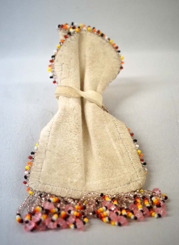 Navajo Beaded Leather Corn Pollen Bag by S. Leyba - 2